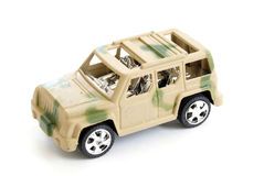 Toy Military Vehicle. A single toy military vehicle on white background stock images