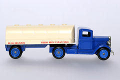 Toy milk tanker truck sideview. Picture of a old style milk tanker truck From my brothers toy collection Royalty Free Stock Image