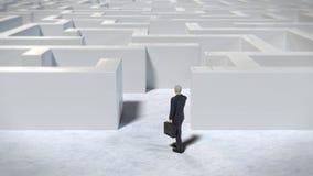 Toy miniature businessman figurine entering a white maze structure, 3d illustration royalty free illustration