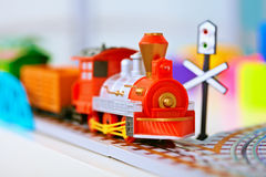Free Toy Miniature Locomotive On Railroad Royalty Free Stock Photos - 19559718