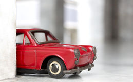 Toy model car, old red toy car Royalty Free Stock Image