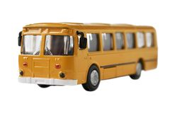 Toy model of old soviet bus isolated on white. Close up Royalty Free Stock Photography
