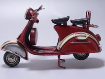 A toy model of a scooter. Close up. Stock Image