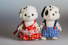 Toy mom and daddy dogs. Made from plush royalty free stock photography
