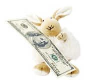Toy with money. Hare toy with one hundred dollars Royalty Free Stock Photo