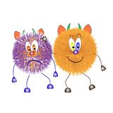 Toy monster. Hairy colorful set Royalty Free Stock Images