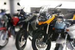 Toy motor bike. Miniature toy motor bikes in BMW museum in Munich, Germany Royalty Free Stock Photography