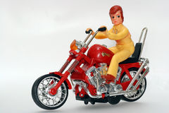 Toy motorbike with driver Stock Images