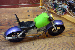 A toy motorcycle on display Royalty Free Stock Images
