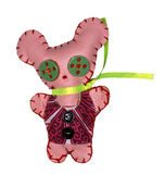 Toy - the mouse. Textile toy from slices of a skin and a fabric on a white background stock images
