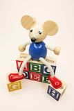Toy Mouse with Alphabet Blocks Stock Photography