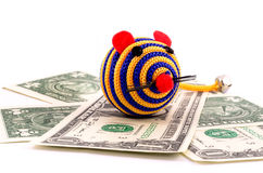 Toy mouse with money Royalty Free Stock Photography