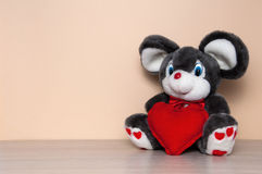 Toy mouse with red heart Stock Image