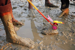 Toy in the mud. Children playing in the muddy coastline Stock Photography