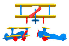 Toy Multicoloured Biplanes. 3d Rendering Stock Photos