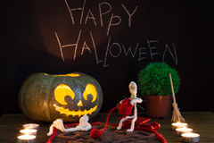 Toy mummies and jack-o'-lantern. Stock Photo