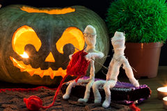 Toy mummies and jack-o'-lantern. Stock Photography