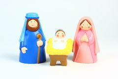 Toy Nativity. A cute children's toy nativity on a light background Royalty Free Stock Photos