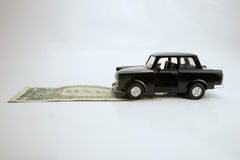 Toy old car for one dollar Royalty Free Stock Images