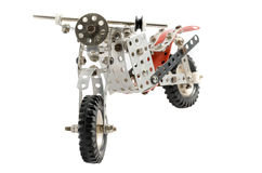 Toy old vintage motorbike isolated on white background Stock Photo
