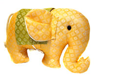 Toy orange patterned fabric elephant from Thailand Stock Photos
