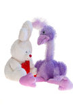 Toy ostrich and rabbit together. Taken an over white Stock Image