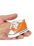 Toy on palm , sneaker. Palm with toy, the sneakers on white background Stock Photography