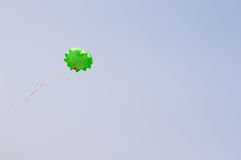 Toy parachute. Flying in the air Stock Photo