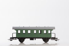 Toy passenger rail car. Pictured items of a toy railroad Stock Photos