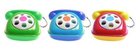 Toy Phones. On Isolated White Background Royalty Free Stock Image