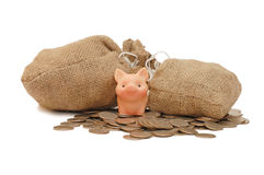 Toy pig with bags of money Royalty Free Stock Photo