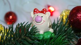 Toy pig and winter decor, congratulations on the holiday. Symbol of the year of the pig on the background of Christmas royalty free stock images