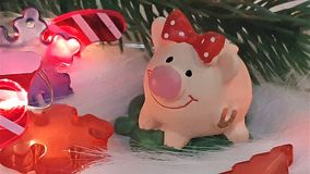 Toy pig and winter decor, congratulations on the holiday. Symbol of the year of the pig on the background of Christmas lights stock images