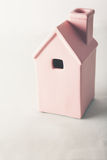 Toy pink house on pastel background Royalty Free Stock Photography