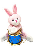Toy pink rabbit with drum Royalty Free Stock Photos