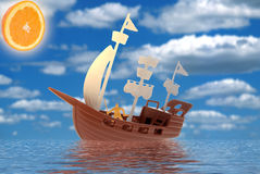 Toy pirate ship in water Stock Images