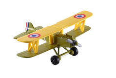 Toy Plane. Isolated image of a toy World War II British biplane royalty free stock photo