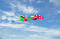 Toy plane Flying on Sky. Stock Image