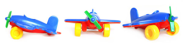 Toy plane. In four angles on a white background Royalty Free Stock Photos