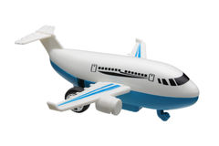 Toy plane. Plastic toy plane isolated on white background Royalty Free Stock Photo