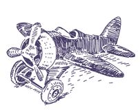 Toy plane vector hand drawn stock photo