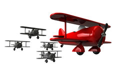 Toy planes follow the leader. Royalty Free Stock Image