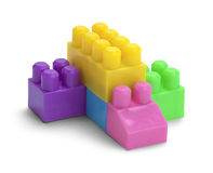 Toy Plastic Blocks. Stacked Plastic Toy Blocks  on a White Background Stock Images