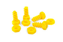 Toy plastic bolts and nuts Royalty Free Stock Image
