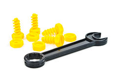 Toy plastic bolts and nuts Royalty Free Stock Photography