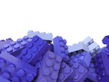 Toy plastic bricks background in lilac vector illustration