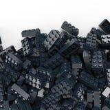 Toy plastic bricks background in navy blue Stock Photo