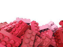 Toy plastic bricks background in pink and red stock illustration