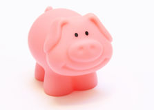 Toy plastic pig. Toy plastic pink pig isolated on white Stock Images