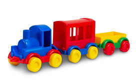 Toy plastic train  on white. Royalty Free Stock Photography
